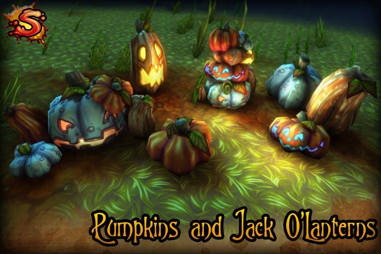 spooky cemetery bundle pumpkins beauty shot unity 3d sauce