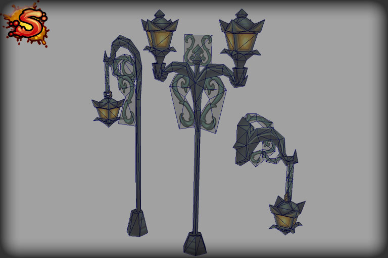 spooky cemetery bundle lamps wireframe unity 3d sauce
