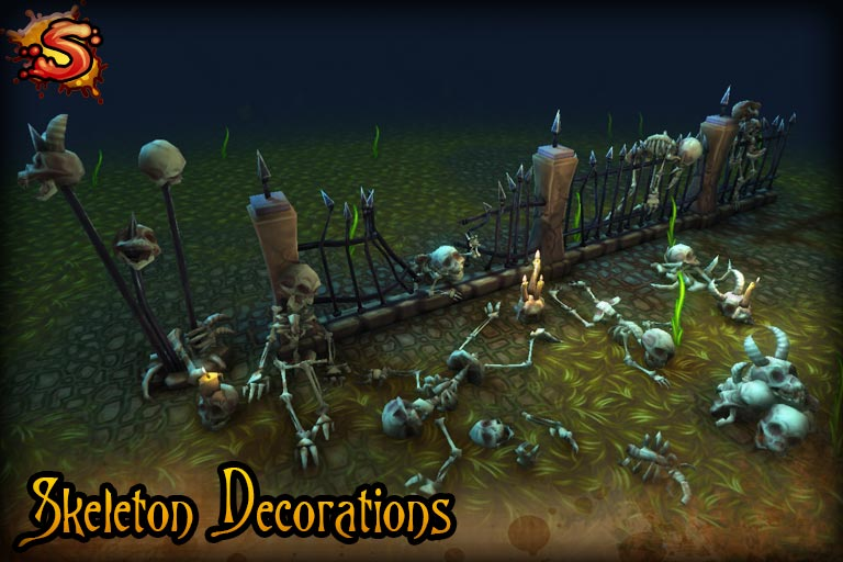 spooky cemetery bundle skeleton props beauty shot unity 3d sauce