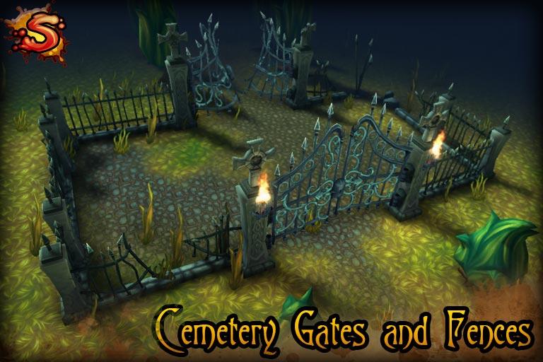 spooky cemetery bundle gates and fences beauty shot unity 3d sauce