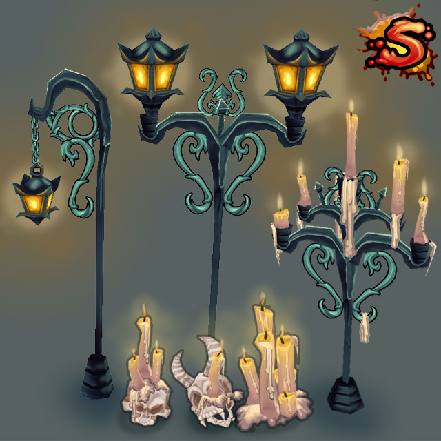 low poly candles & lamps cover art unity 3d sauce