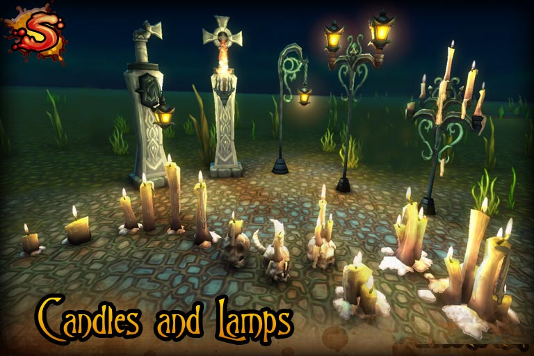 low poly candles & lamps beauty shot unity 3d sauce