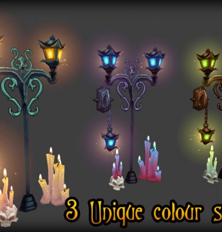 low poly candle & lamp colors unity 3d sauce