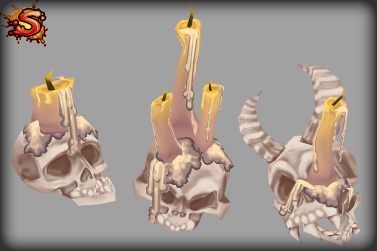 low poly skull candles unity 3d sauce