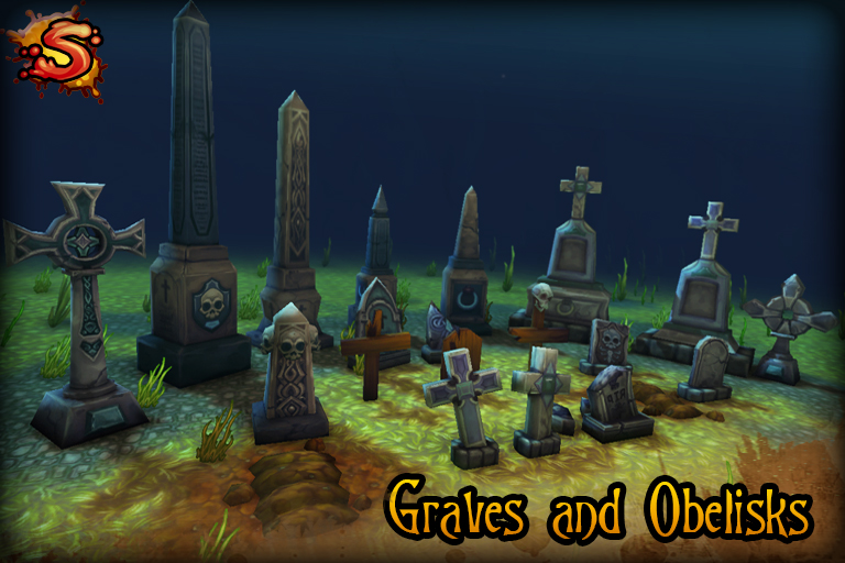 gravestones and obelisks beauty shot unity 3d sauce