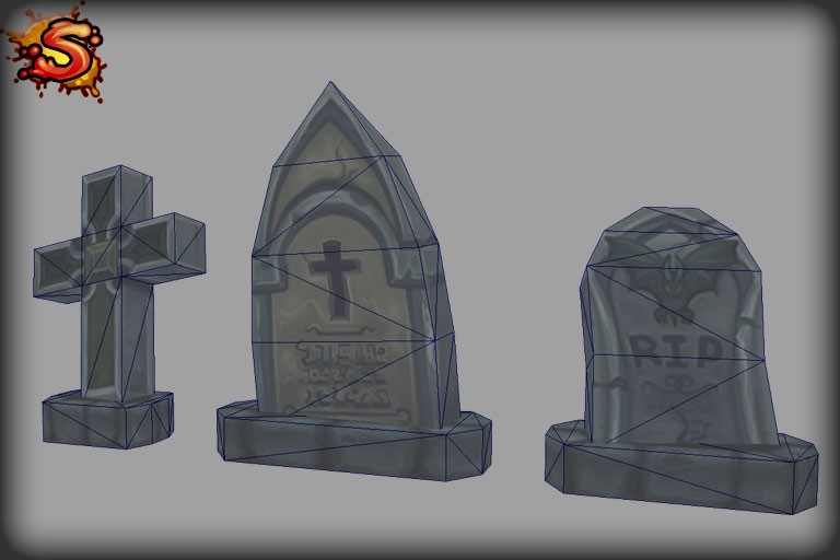 gravestones wireframe unity 3d sauce