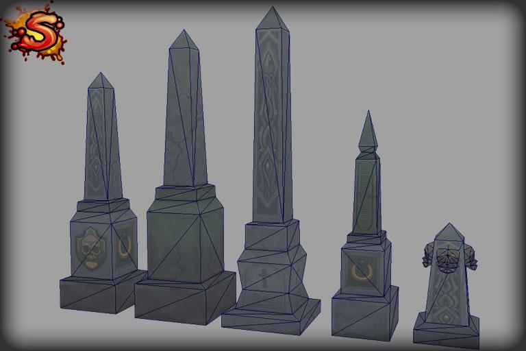 obelisks wireframe unity 3d sauce