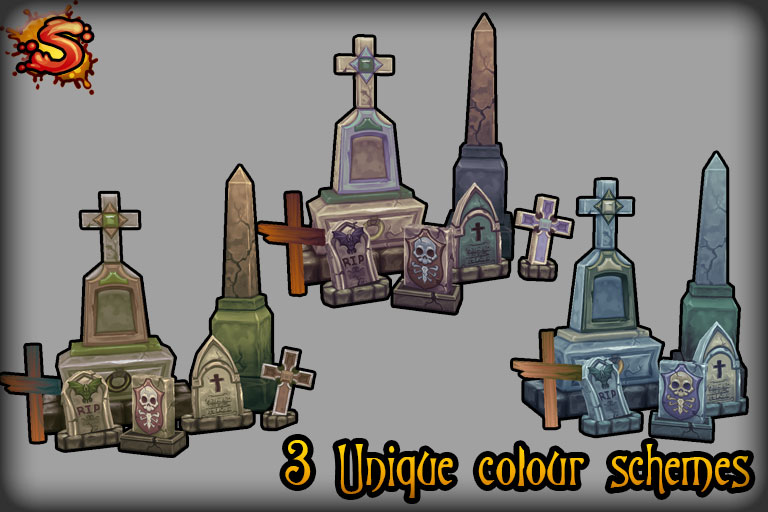 gravestone and obelisk colors unity 3d sauce