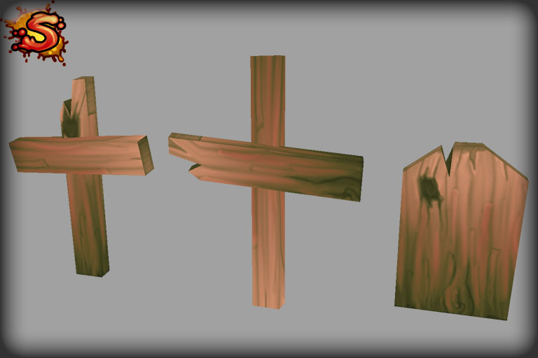 wooden grave cross unity 3d sauce