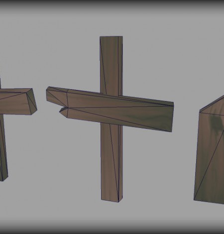 wooden grave cross wireframe unity 3d sauce
