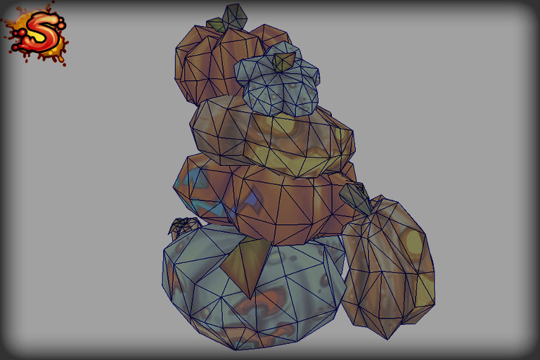 halloween pumpkins & jack-o'-lanterns stack wireframe and unity 3d sauce