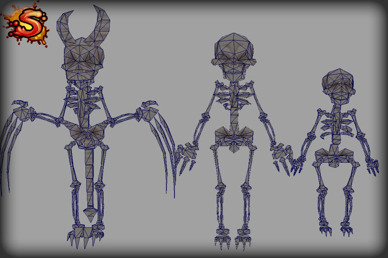 skeleton character props wireframe unity 3d sauce
