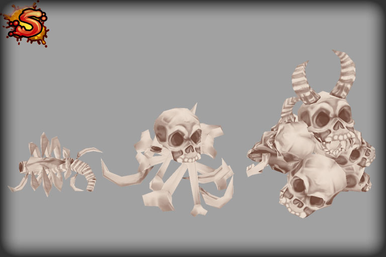 low poly skeleton bone props unity 3d sauce