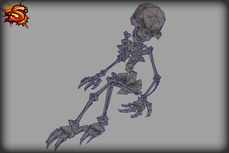 skeleton decoration wireframe unity 3d sauce
