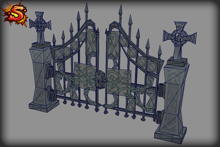 steel gate wireframe unity 3d sauce