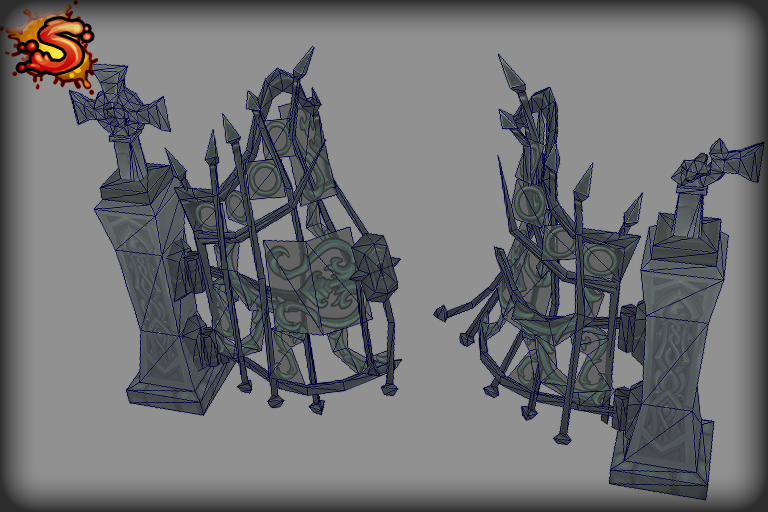 steel gate damaged wireframe unity 3d sauce